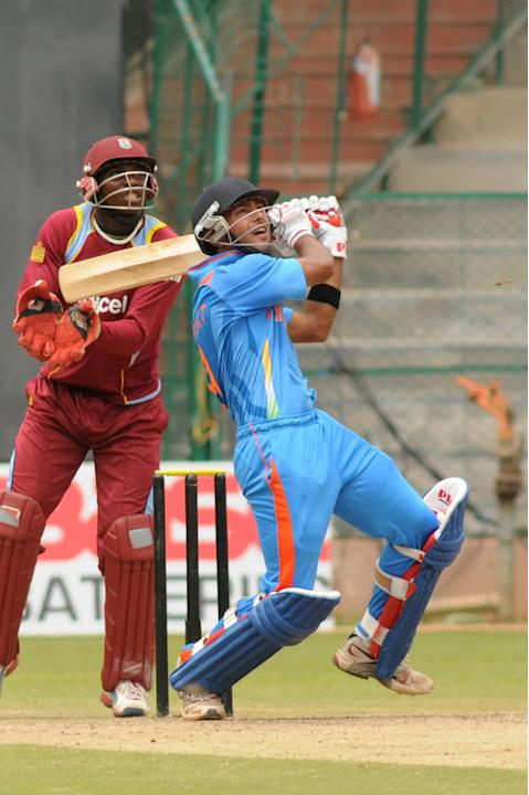 Indian A team Player Unmukth Chand in action against West Indies A team, during India A team v/s West Indies A team unofficial T-20 cricket match at Chinnaswamy Stadium, in Bangalore on Saturday 21st