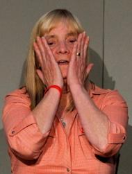 "Hillsborough Family Support Group member Margaret Aspinall, the mother of Hillsborough victim James Aspinall, reacts during a press conference at Liverpool's Anglican Cathedral on September 12. Prime Minister David Cameron apologised Wednesday to the families of the 96 victims of the 1989 Hillsborough football stadium disaster for the ""double injustice"" they suffered."