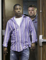 Comedian and actor Tracy Morgan arrives at a news conference with Kevin Rogers, right, Tuesday, June 21, 2011, in Nashville, Tenn. Morgan apologized for anti-gay remarks he made during a performance in Nashville on June 3. Rogers attended the June 3 show and first reported the incident via Facebook. (AP Photo/Mark Humphrey)