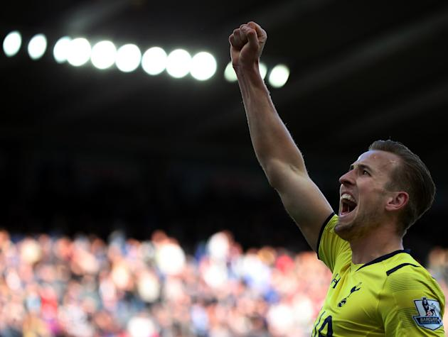 Tottenham Hotspur's Harry Kane celebrates his goal during their English Premier League soccer match between Newcastle United and Tottenham Hotspur at St James' Park, Newcastle, England, Sunday