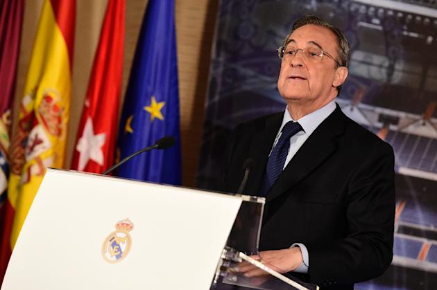 Real Madrid president Florentino Perez gives a press conference at the Santiago Bernabeu stadium in Madrid on May 25, 2015