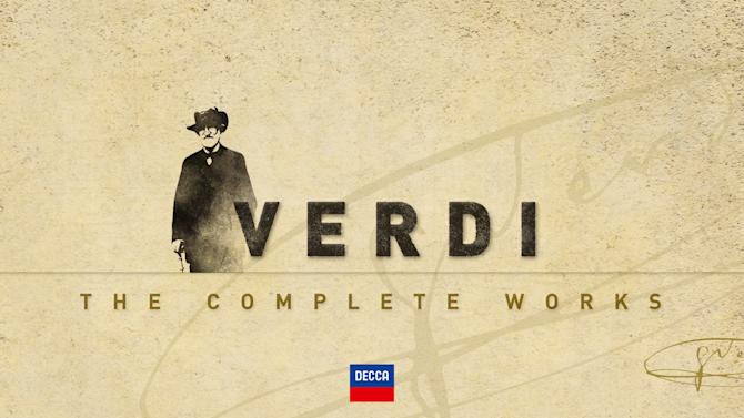 "This box set cover image released by Decca shows ""Verdi: The Complete Works."" From the ever-popular ""Aida"" to the obscure ""Alzira,"" all 28 of Giuseppe Verdi's operas have been repackaged in a boxed set to commemorate the great Italian composer's 200th birthday.  (AP Photo/Decca)"