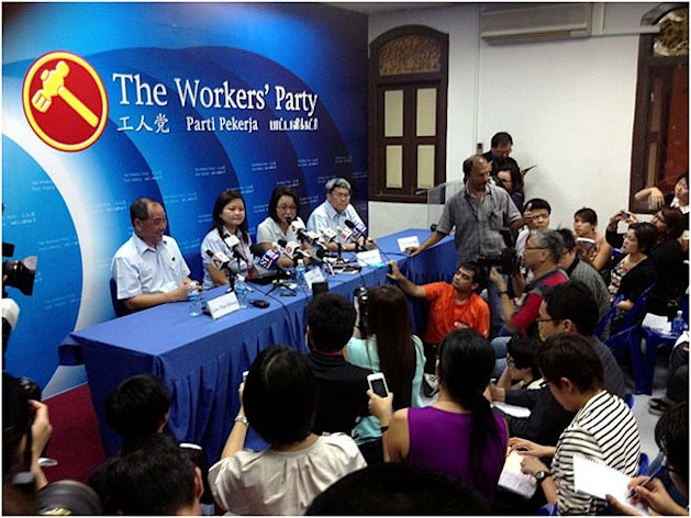 Workers' Party holds a briefing after election win in Punggol East 26 January 2013. (Yahoo! photo)