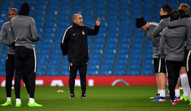 Monaco's coach Leonardo Jardim takes a training session at the Etihad Stadium in Manchester, north west England, on February 20, 2017, on the eve of their UEFA Champions League Round of 16 first-l
