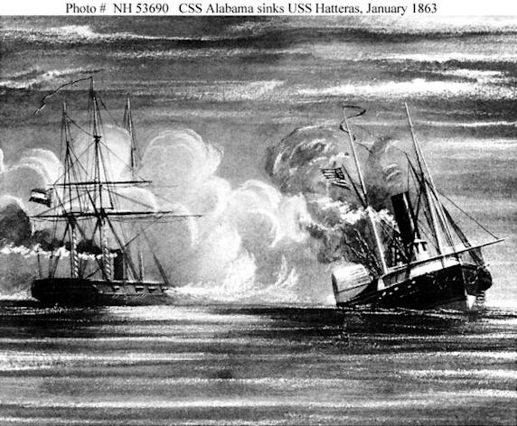 This 19th century print shows the USS Hatteras and CSS Alabama in battle off Galveston, Texas on Jan. 11, 1863.