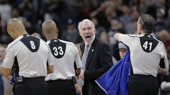 San Antonio Spurs head coach Gregg Popovich argues with officials after the team's loss to the Oklahoma City Thunder in Game 2 of a second-round NBA basketball playoff series, Monday, May 2, 2016, in San Antonio. Oklahoma City won 98-97. (AP Photo/Eric Gay)