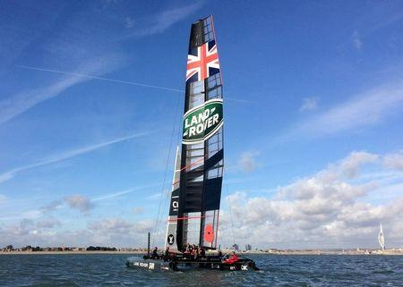 British sailor Ben Ainslie's Land Rover BAR crew practices in the waters off Portsmouth
