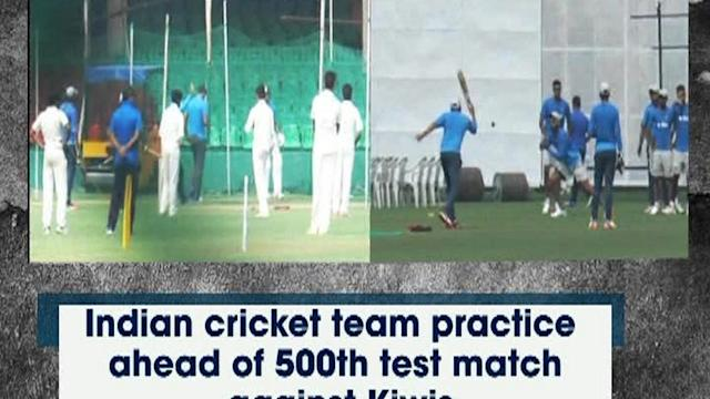 Indian cricket team practice ahead of 500th test match against Kiwis