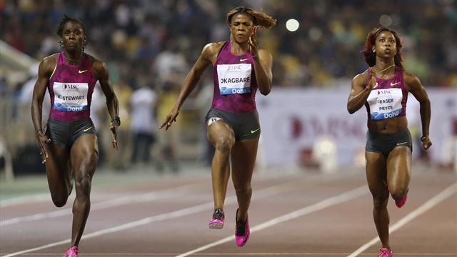 Athletics - Fraser-Pryce wins 100m at Diamond League opener in Doha