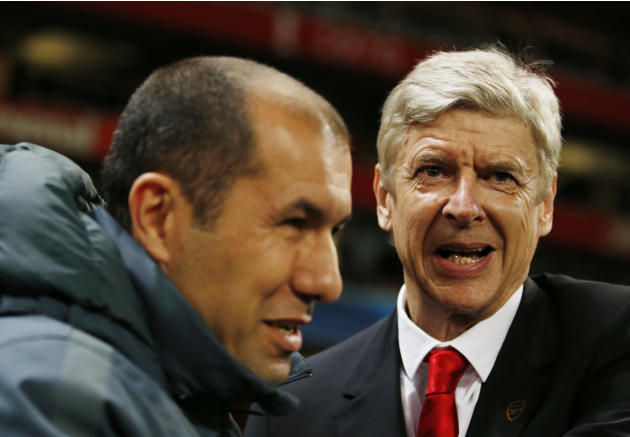 Football: Arsenal manager Arsene Wenger with Monaco coach Leonardo Jardim