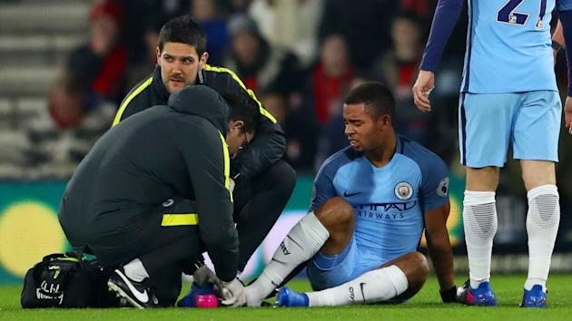 Manchester City suffered an injury blow at Bournemouth as Gabriel Jesus sustained a foot problem - handing a chance to Sergio Aguero.
