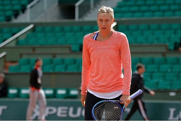 Russia's Maria Sharapova, seen here in training session at the Roland Garros stadium in Paris, could face Carla Sanchez Navarro of Spain in the quarter-finals