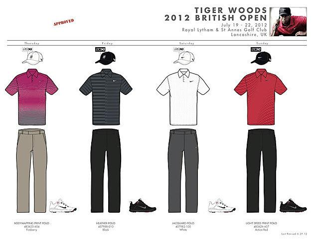 Tiger Woods' British Open outfits