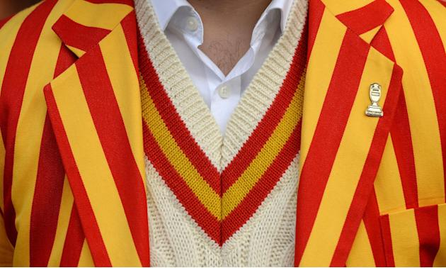 Cricket: General view of an MCC member in the queue outside the ground before the start of the third day