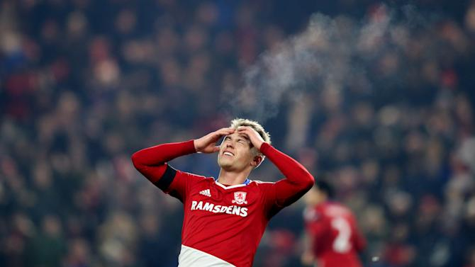 Middlesbrough's Viktor Fischer dejected after scoring a goal that was disallowed