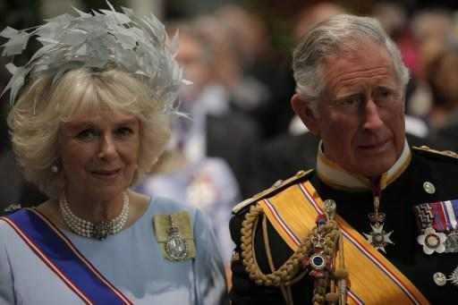 Britain's Prince Charles of Wales and his wife Camilla, Duchess of Cornwall arrive to attend the inauguration of King Willem-Alexander at Nieuwe Kerk (New Church) in Amsterdam on April 30, 2013.  AFP