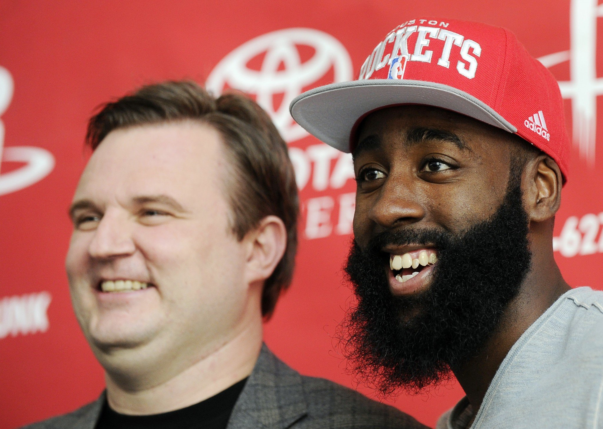 Daryl Morey and James Harden were all smiles in October of 2012. (AP)