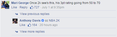Watch out NBA, Anthony Davis can drain threes now and he wants 'NBA 2K' to know it