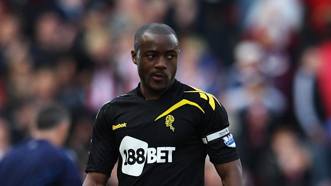 Nigel Reo-Coker of Bolton Wanderers looks dejected as they are relegated after the Barclays Premier League match between Stoke City and Bolton Wanderers at Britannia Stadium on May 13, 2012 in Stoke on Trent, England. (Photo by Michael Steele/Getty Images)
