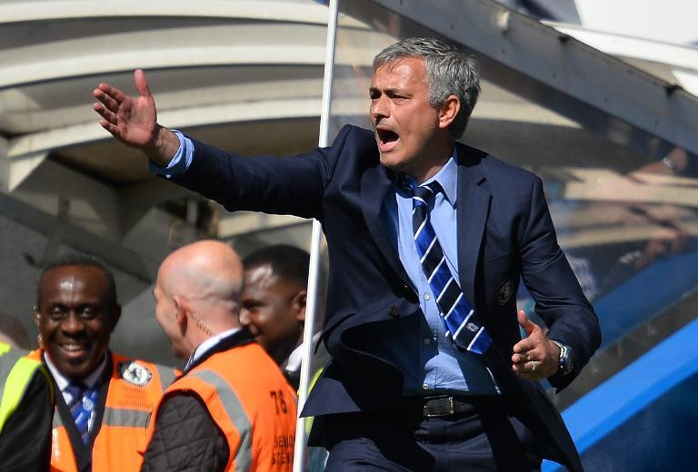 Chelsea manager Jose Mourinho gestures on the sideline during his side's Premier League match against Crystal Palace at Stamford Bridge on May 3, 2015