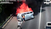 Motorist saves trio from van engulfed in flames