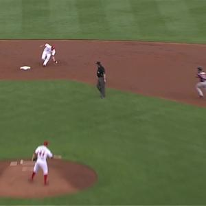 Plouffe scores on double play