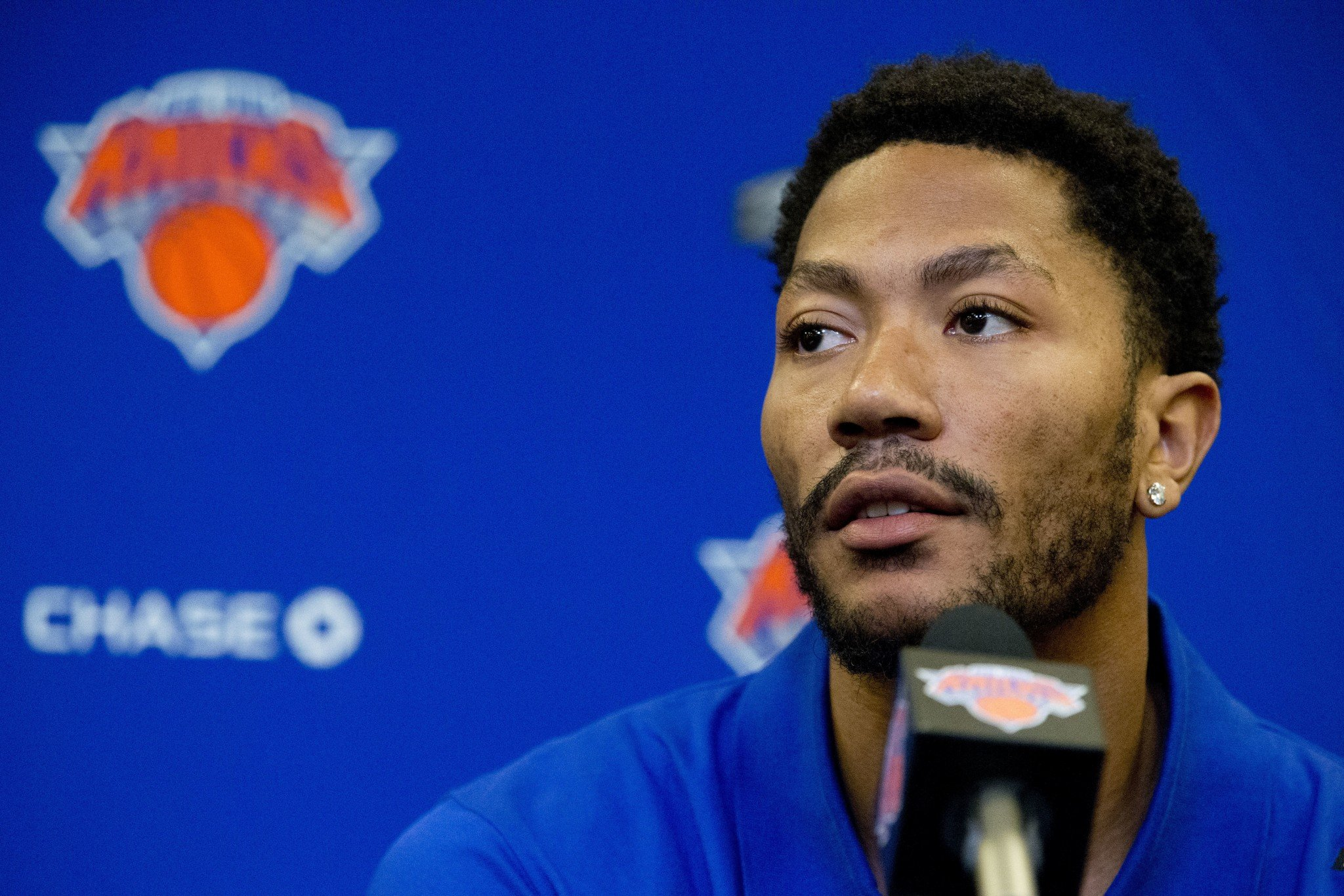 Derrick Rose speaks during a June 24, 2016, news conference at Madison Square Garden in New York. (AP)