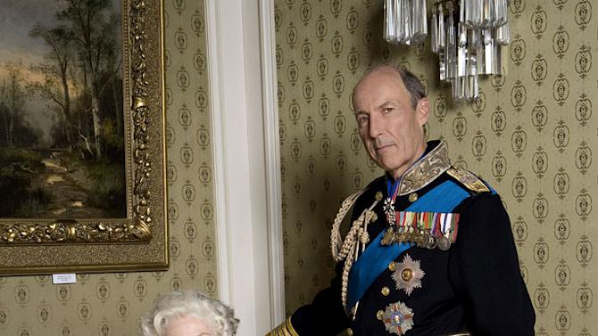 "Jane Alexander as HM Queen Elizabeth II and Mark Penfold stars as HRH Prince Philip in ""William & Catherine: A Royal Romance."""