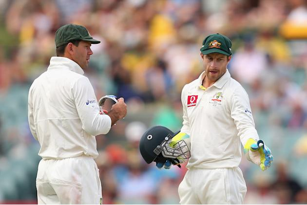 ADELAIDE, AUSTRALIA - NOVEMBER 23:  Matthew Wade of Australia talks to team mate Ricky Ponting during day two of the Second Test match between Australia and South Africa at Adelaide Oval on November 2