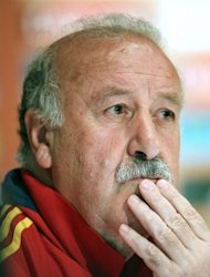 Spain's coach Vicente del Bosque speaks during a press conference in Schruns. Del Bosque announced that Sevilla striker Alvaro Negredo has edged Roberto Soldado for the final striker's spot in defending champions Spain's squad for Euro 2012
