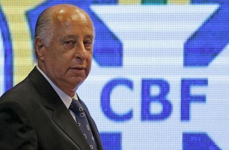 CBF President Marco Polo Del Nero arrives for a news conference after the announcement of the players for the 2018 World Cup qualifiers, in Rio de Janeiro