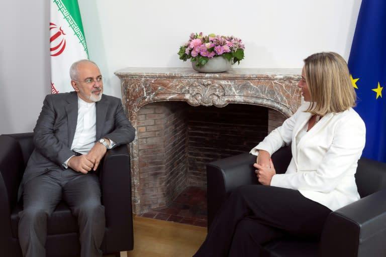 El ministro iraní de Relaciones Exteriores, Mohamad Javad Zarif se reunido con la jefa de la diplomacia europea, Federica Mogherini, en Bruselas, el 15 de mayo de 2018
