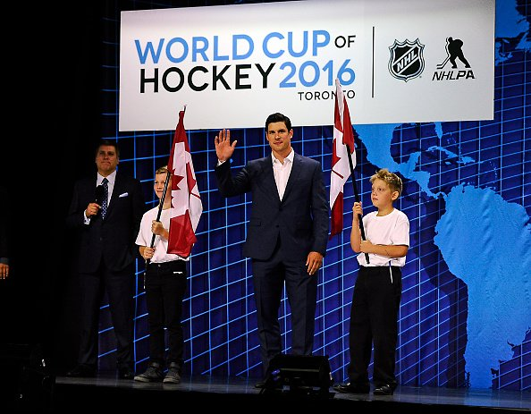 TORONTO, ON - SEPTEMBER 9: Sidney Crosby of Team Canada is introduced during the World Cup of Hockey Media Event on September 9, 2015 at Air Canada Centre in Toronto, Ontario, Canada. (Photo by Graig Abel/NHLI via Getty Images)