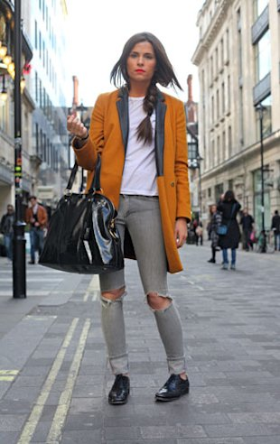 Distressed Denim: Ripped Superfine Jeans, Topshop Coat And Church's brogues.
