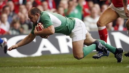 Ireland's Rory Best scores a try during their Six Nations rugby union match against Wales in Cardiff