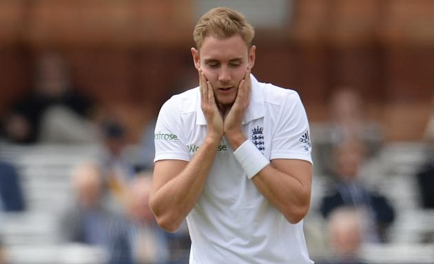 Cricket: England's Stuart Broad reacts