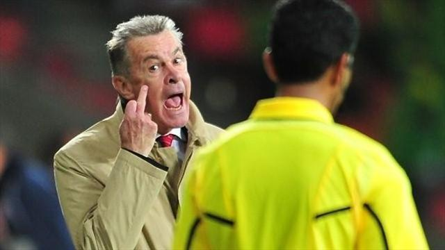 World Cup - Switzerland coach Hitzfeld in finger ban