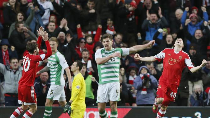 Southampton's Gallagher celebrates after scoring against Yeovil Town during their English FA Cup fourth round soccer match at St Mary's stadium in Southampton