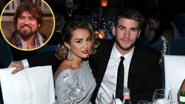 Miley Cyrus & Liam Hemsworth, inset: Billy Ray Cyrus -- Access Hollywood / Getty Images