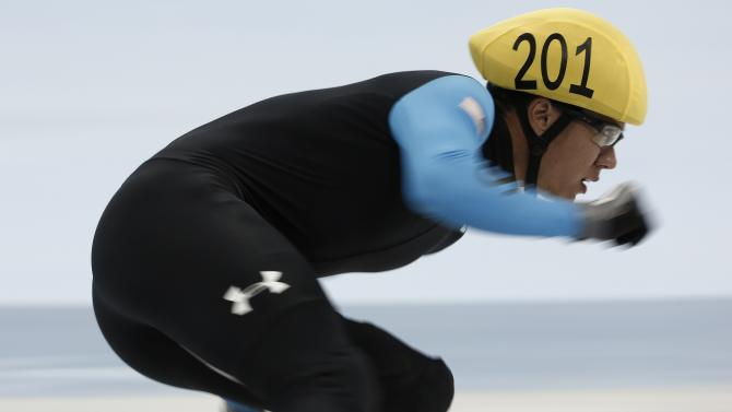 Celski of the U.S. competes in the men's 500m preliminary race during the ISU Short Track World Cup speed skating competition in Shanghai