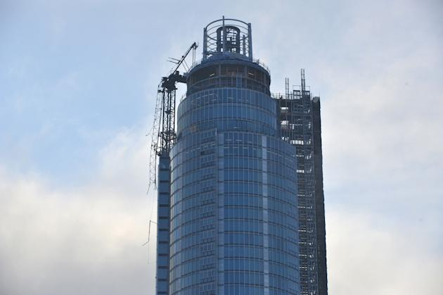 The damaged crane on top of St Georges Tower