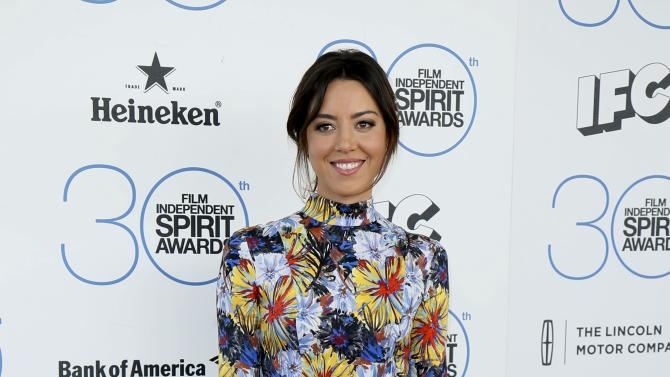 Actress Aubrey Plaza arrives at the 2015 Film Independent Spirit Awards in Santa Monica