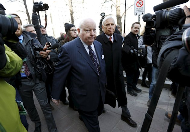 Suspended Senator Mike Duffy arrives at the Ontario Court of Justice, in Ottawa, Canada, April 7, 2015. Duffy, a former ally of Canadian Prime Minister Stephen Harper, goes on trial for fraud and bribery on Tuesday in a case that could damage the governing Conservatives' chances of winning October's general election. REUTERS/Blair Gable