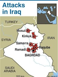 Map of Iraq locating the series of attacks on Thursday. A wave of apparently coordinated bombing and shooting attacks in six different provinces killed at least 37 people and wounded more than 150, security officials said