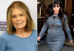 Gloria Steinem, Kim Kardashian | Photo Credits: Gary Miller/FilmMagic;  James Devaney/WireImage