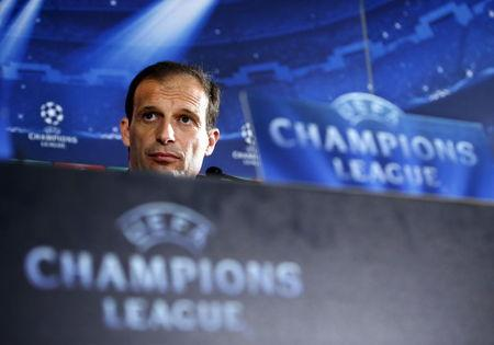 Juventus coach Massimiliano Allegri attends a news conference, on the eve of their quarter-final return leg Champions League soccer match against Monaco, at Louis II stadium in Monaco