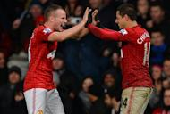 Manchester United's Tom Cleverley (L) celebrates with Javier Hernandez after Hernandez scored the winner against Newcastle at Old Trafford in Manchester on December 26, 2012. United will look to put even more daylight between themselves and rivals Manchester City when they host West Bromwich Albion on Saturday, as the Premier League's busy festive season continues