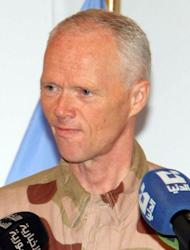 "The head of the UN observer team, General Major Robert Mood of Norway, gives a press conference in Damascus. Mood acknowledged that, ""No volume of observers can achieve a progressive drop and a permanent end to the violence if the commitment to give dialogue a chance is not genuine from all internal and external factors"""