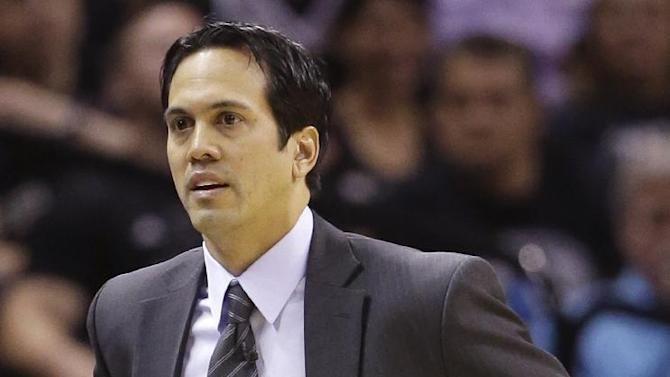 Miami Heat's Erik Spoelstra walks the sideline against the San Antonio Spurs during the first half at Game 4 of the NBA Finals basketball series, Thursday, June 13, 2013, in San Antonio