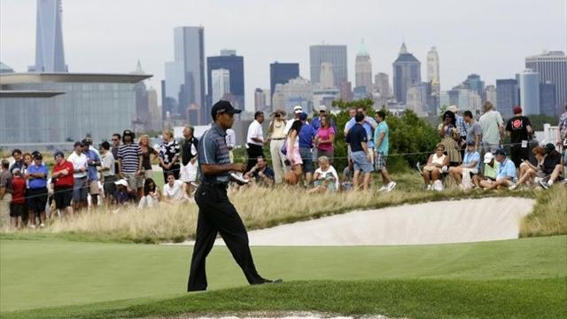 Golf - Kuchar leads, Woods and McIlroy in hunt at Liberty National